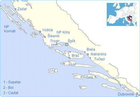 interactive map of Dalmatia, coast, islands of Croatia